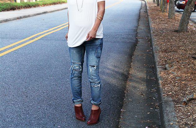 перешить обычные модные узкие джинсы в джинсы для беременных своими руками