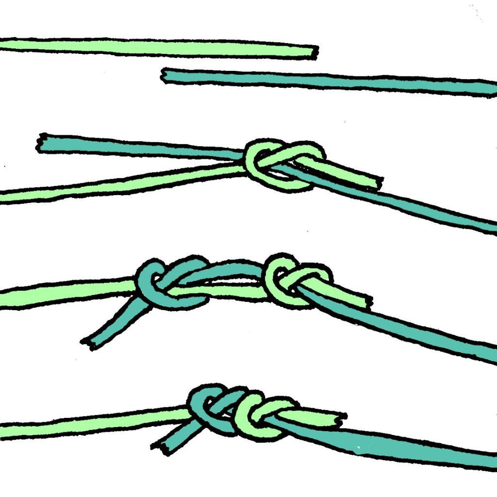 Схема связывания противоположных кончиков веревки на дне, образуя плоскую крестообразную форму