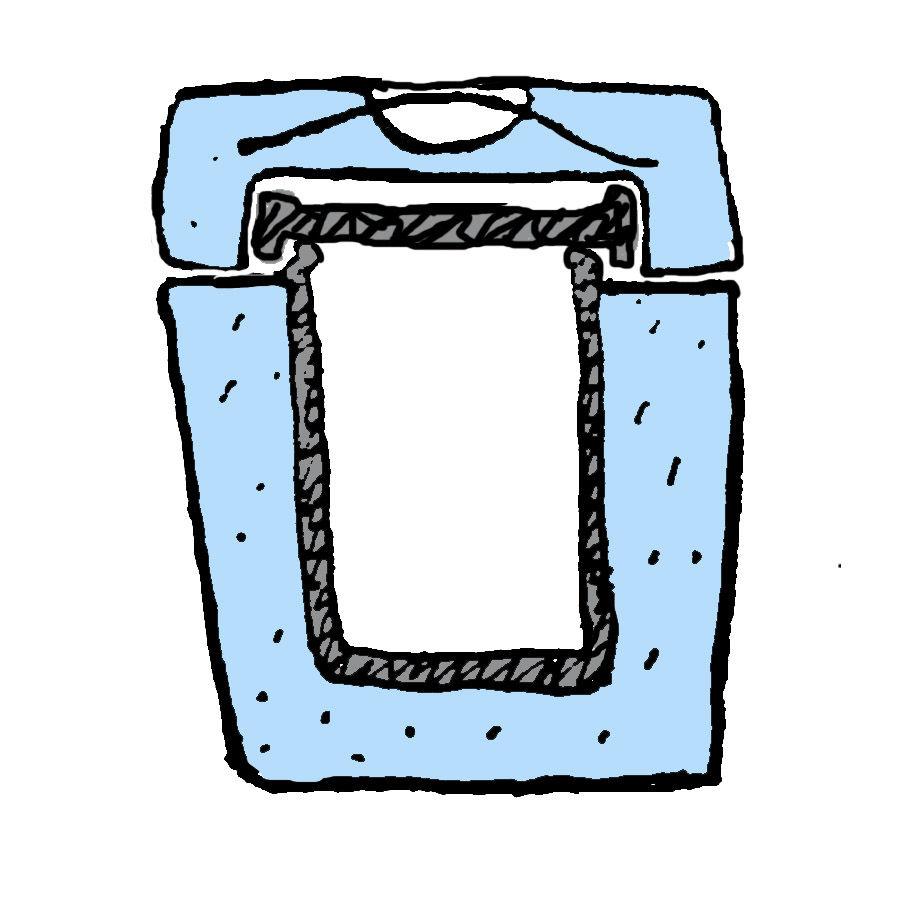 Примерная схема будущего ледяного ведерка: синим отмечен слой льда