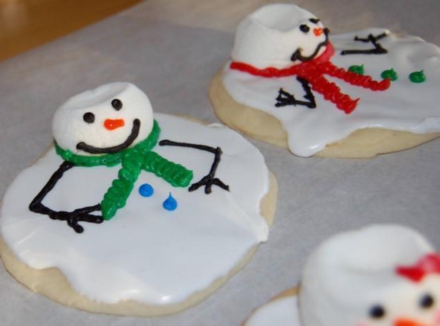 Как приготовить различное декоративное печенье на Новый год - Тающий снеговик