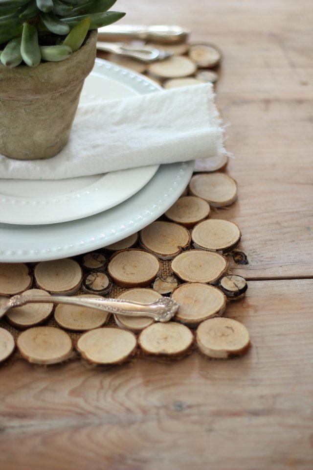 Как из веток сделать подставку под горячее или «мат» под тарелки