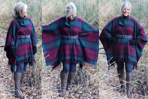 Как сделать модное теплое платье-пончо (свободное пальто, накидку, новомодное пончо) из пледа