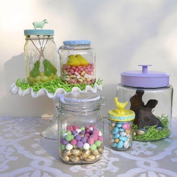 пасхальные «террариумы»/«флорариумы» в банках с конфетами