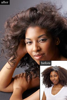снимок до и после профессионального окрашивания волос