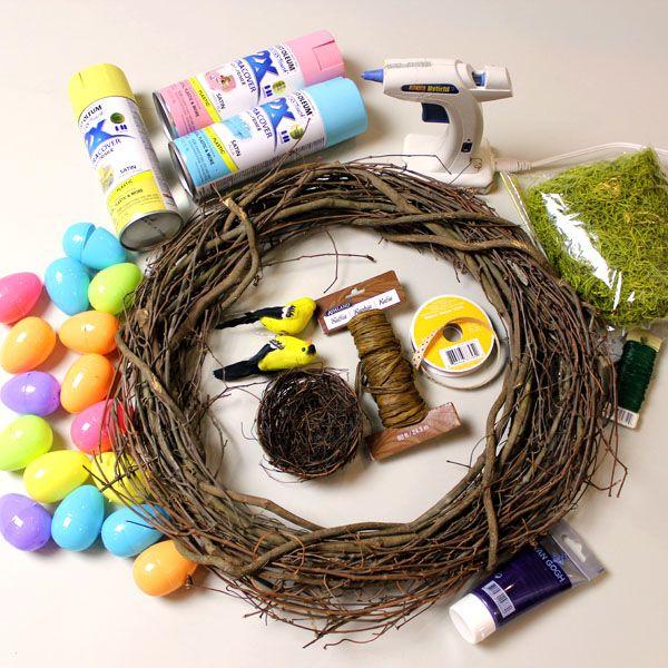 пасхальный венок с яйцами: исходные материалы