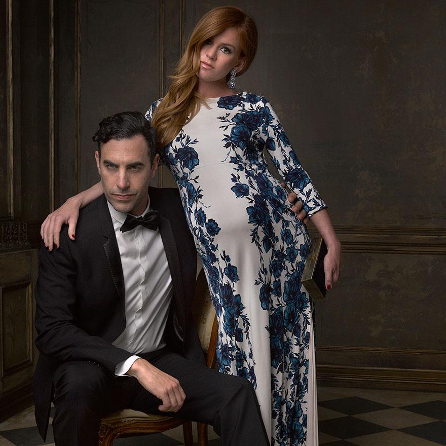 Саша Барон Коэн и Айла Фишер на афтепати от журнала Vanity Fair после Оскара
