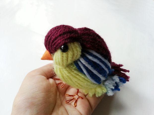 Как сделать симпатичную объемную птичку из пряжи
