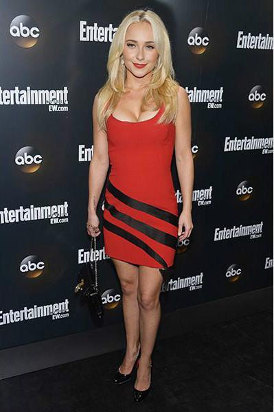 Хайден Панеттьери (Hayden Panettiere)в красном мини-платье с черными полосами