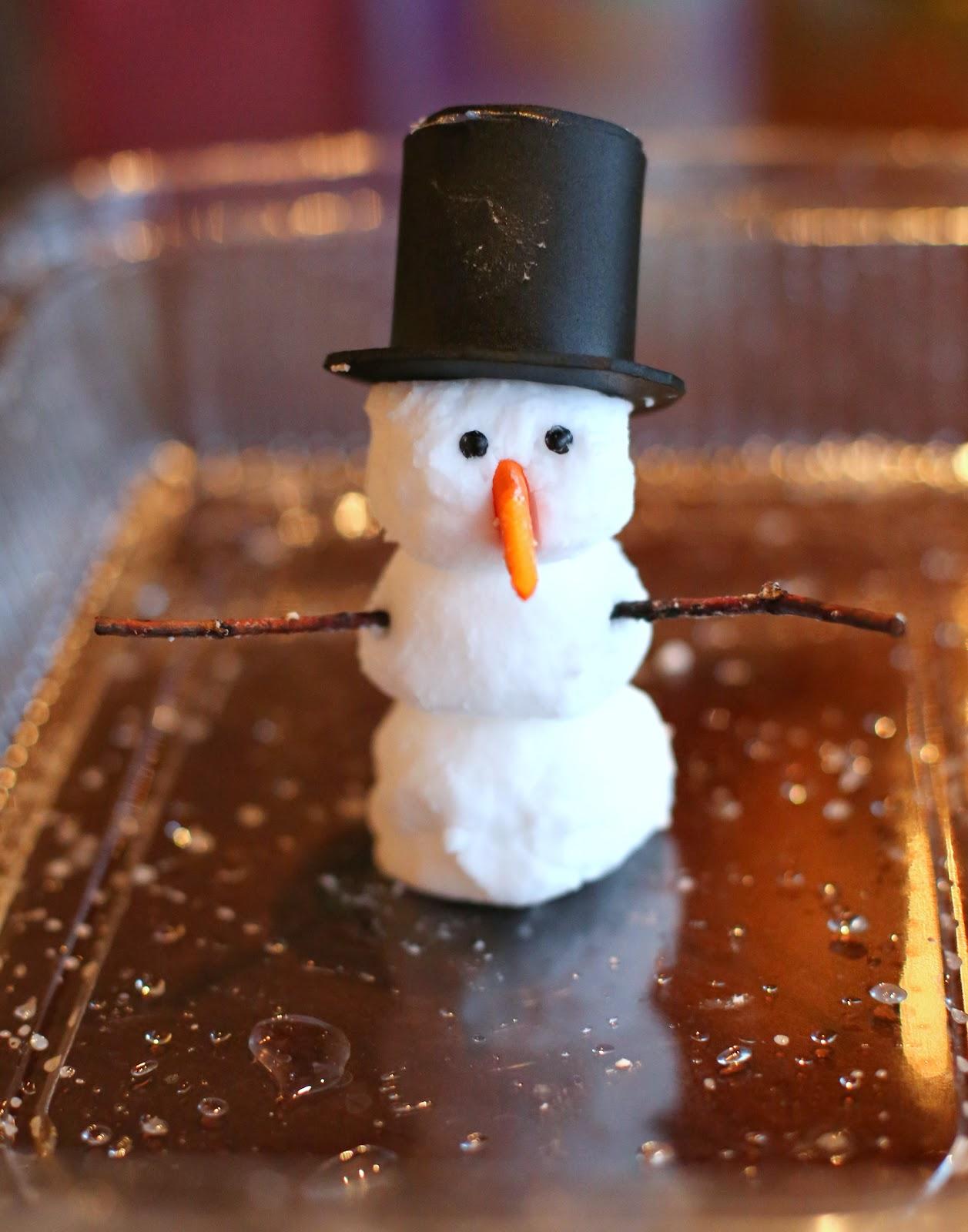 Снеговик из особого извергающегося и пенящегося теста