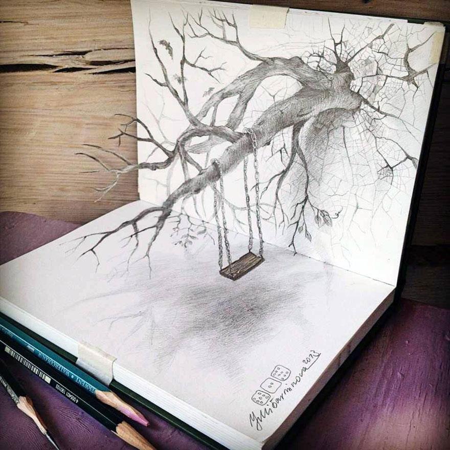 3D рисунок (объемный) на бумаге: качели на ветке