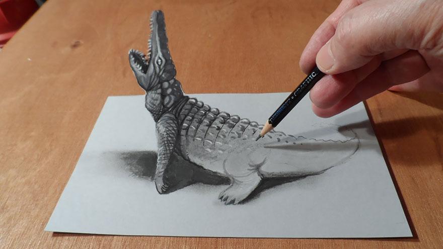 3D рисунок (объемный) на бумаге: крокодил