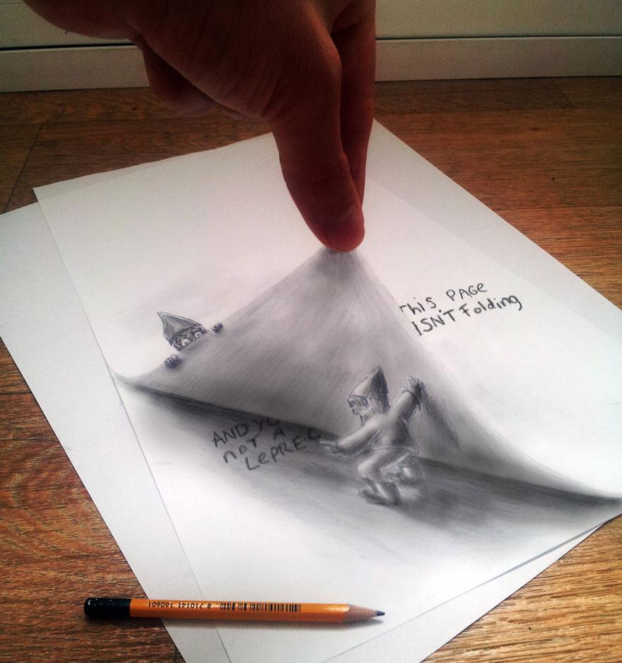 3D рисунок (объемный) на бумаге: гномы с книгой