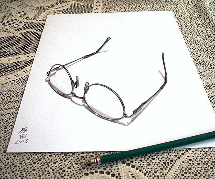 3D рисунок (объемный) на бумаге: мамины очки