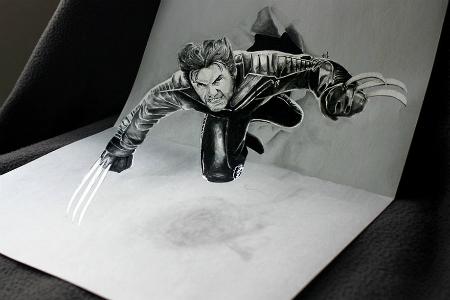 3D рисунок (объемный) на бумаге: Росомаха в полете