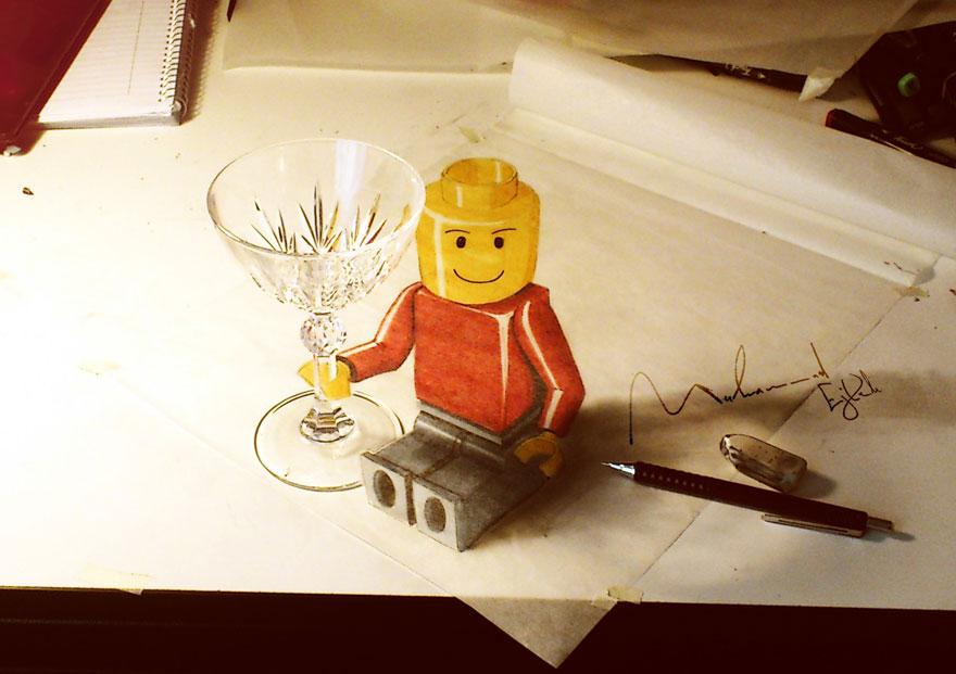 3D рисунок (объемный) на бумаге: человечек из конструктора с рюмкой