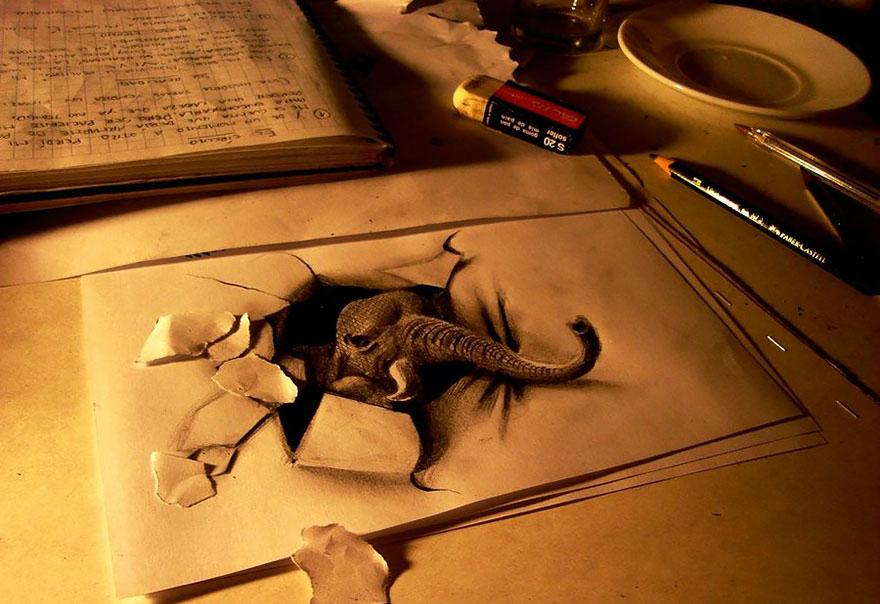 3D рисунок (объемный) на бумаге: слон, вылезающий из пропасти