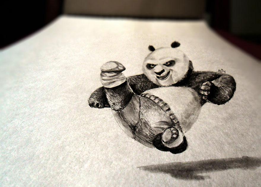3D рисунок (объемный) на бумаге: кунг-фу панда
