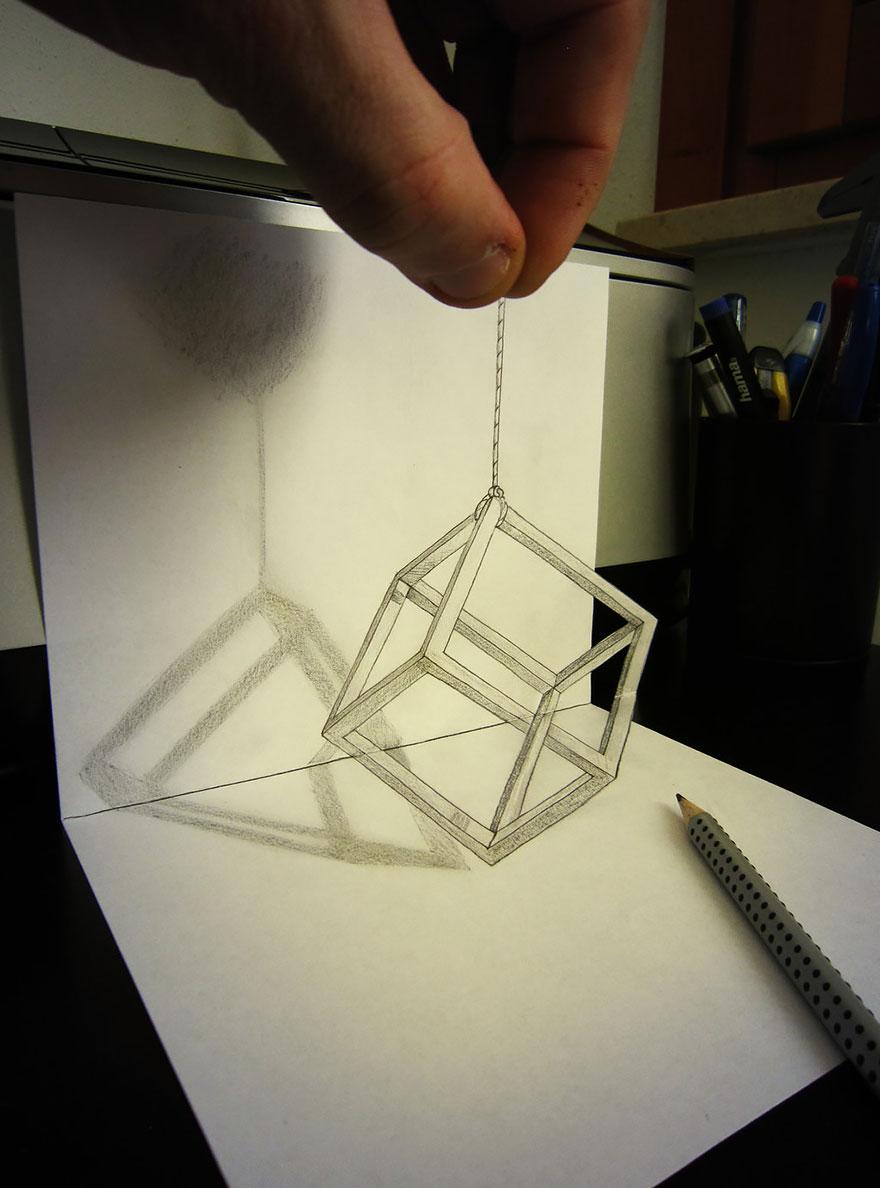 3D рисунок (объемный) на бумаге: куб на цепочке