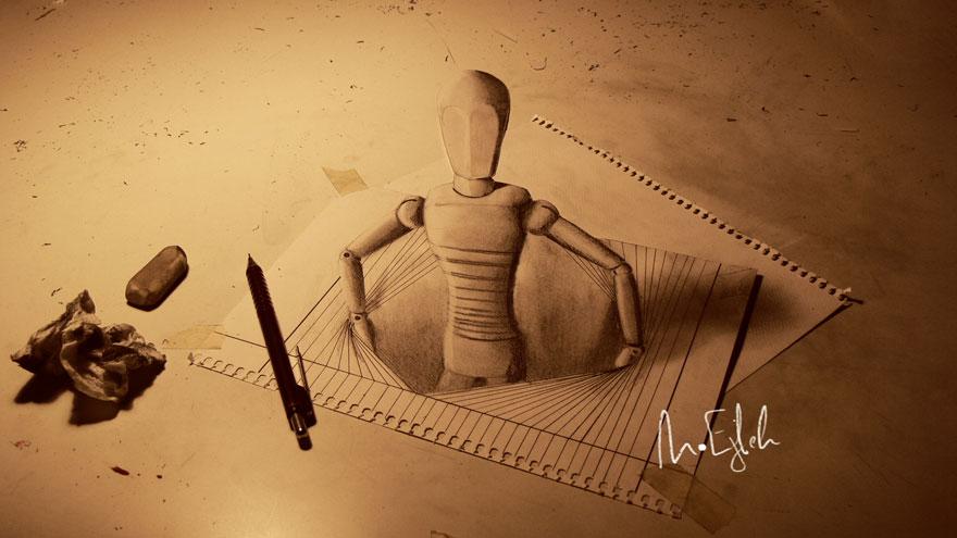 3D рисунок (объемный) на бумаге: деревянная кукла, вылезающая из бумаги