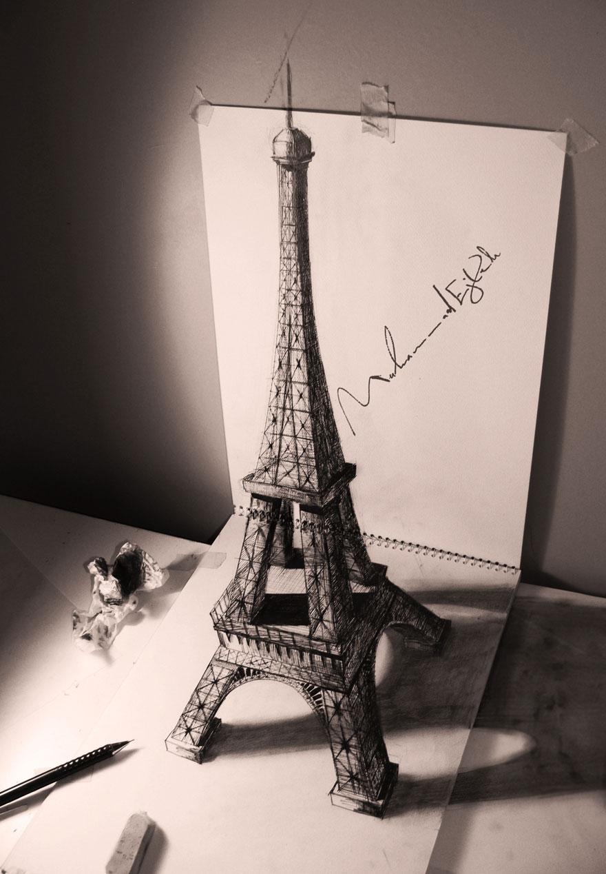3D рисунок (объемный) на бумаге: Эйфелева башня