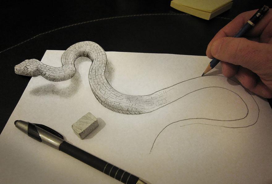 3D рисунок (объемный) на бумаге: змея