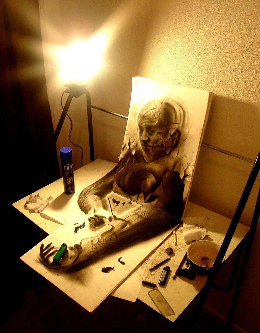 3D рисунок (объемный) на бумаге: человек, сюрреализм