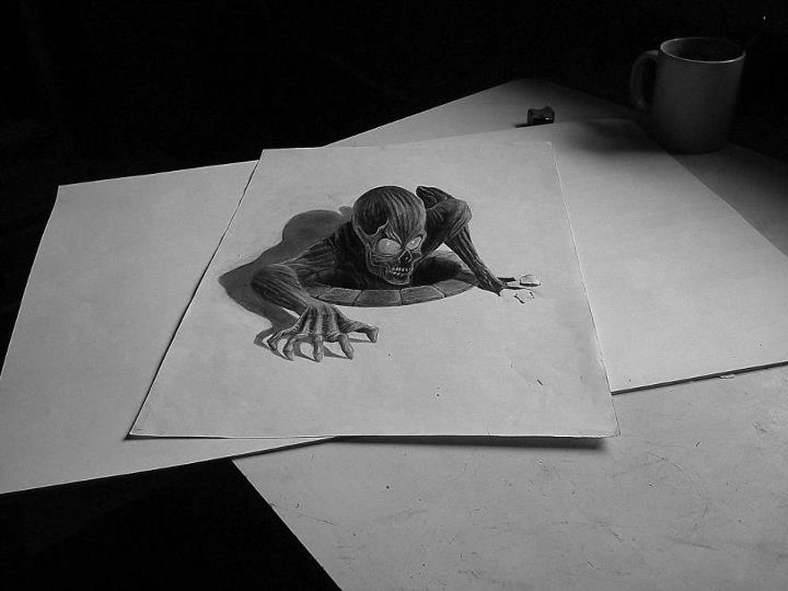 3D рисунок (объемный) на бумаге: чудовище, вылезающее из люка