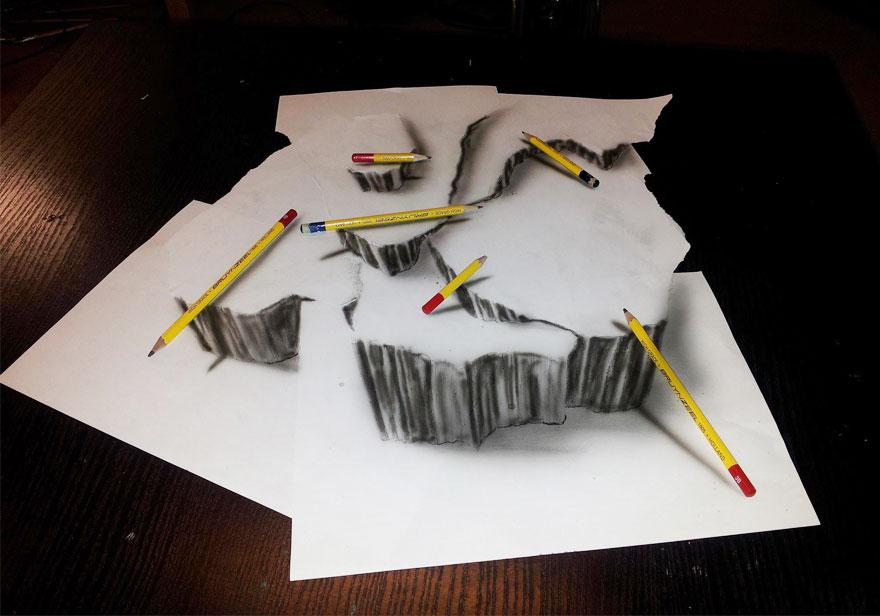 3D рисунок (объемный) на бумаге: скалы
