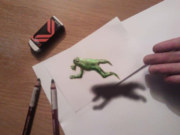 3D рисунок (объемный) на бумаге: лягушка в прыжке