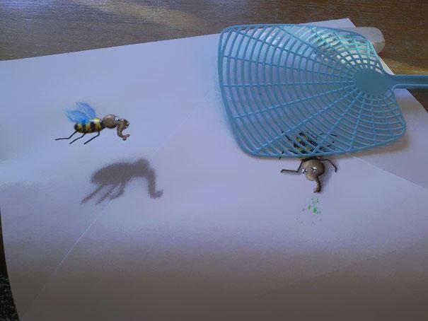 3D рисунок (объемный) на бумаге: прибить осу