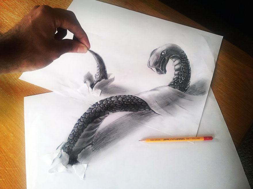 3D рисунок (объемный) на бумаге: водоплавающий змей