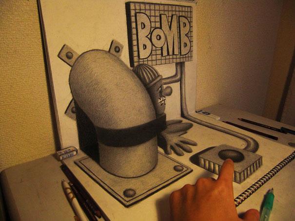 3D рисунок (объемный) на бумаге: сюрреализм, похищенный, бомба
