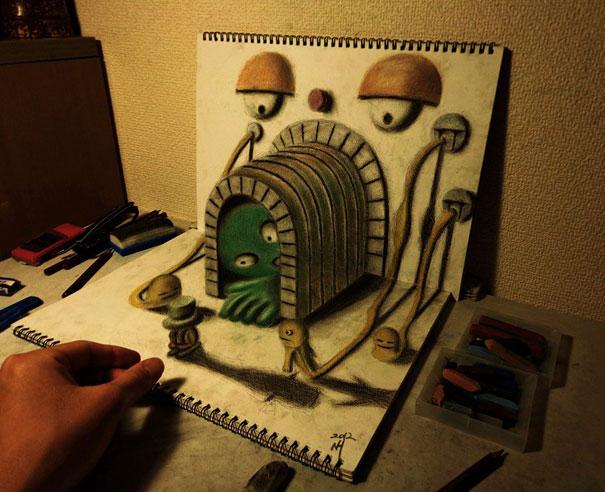 3D рисунок (объемный) на бумаге: сюрреализм, тоннель