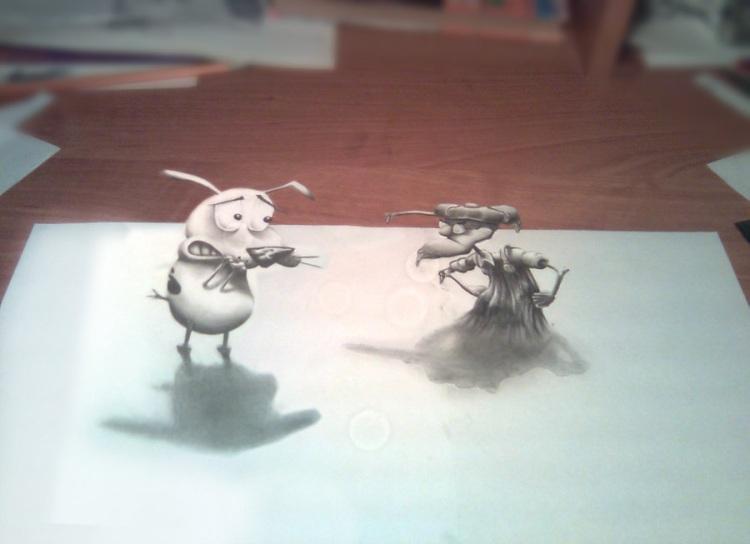 3D рисунок (объемный) на бумаге: трусливый пес, по мульфильму