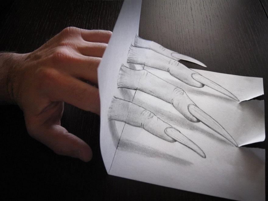 3D рисунок (объемный) на бумаге: когти Росомахи