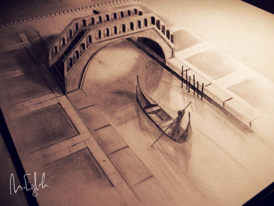 3D рисунок (объемный) на бумаге: канал Венеции