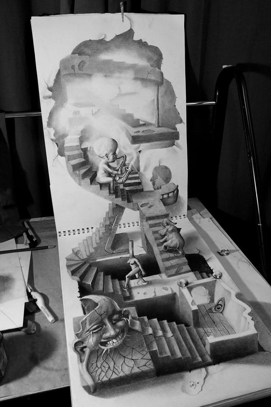 3D рисунок (объемный) на бумаге: лестница, сюрреализм