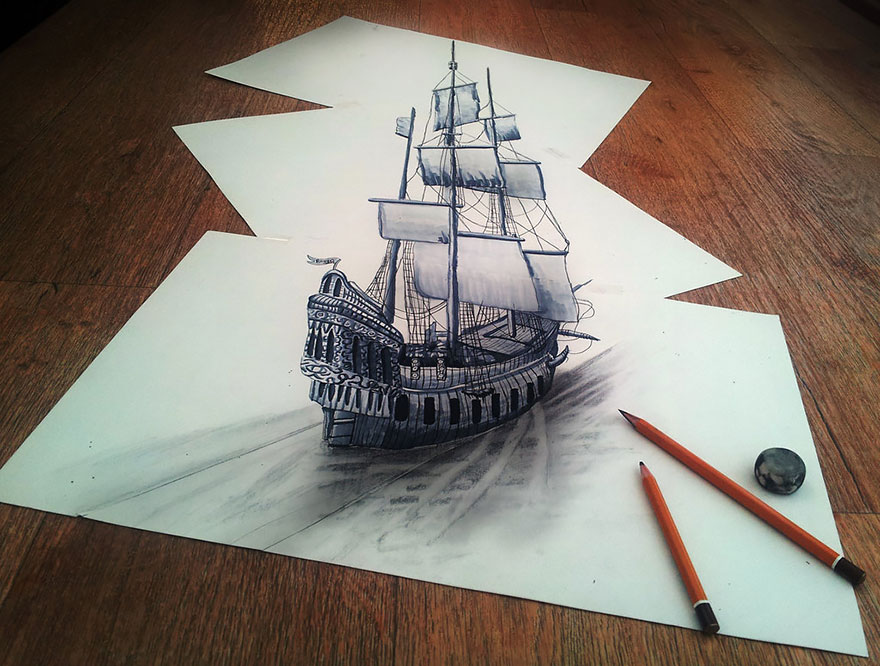 3D рисунок (объемный) на бумаге: шхуна, кораблю древний