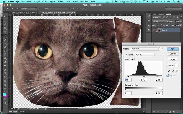 Подготавливаем изображение для печати на ткань в Photoshop: уровни