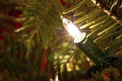 небольшие лампочки гирлянды на живой новогодней елке