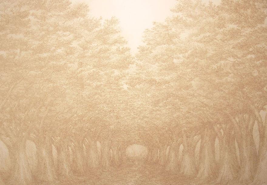 картины прожиганием отверстий в бумаге: дорога через дубраву