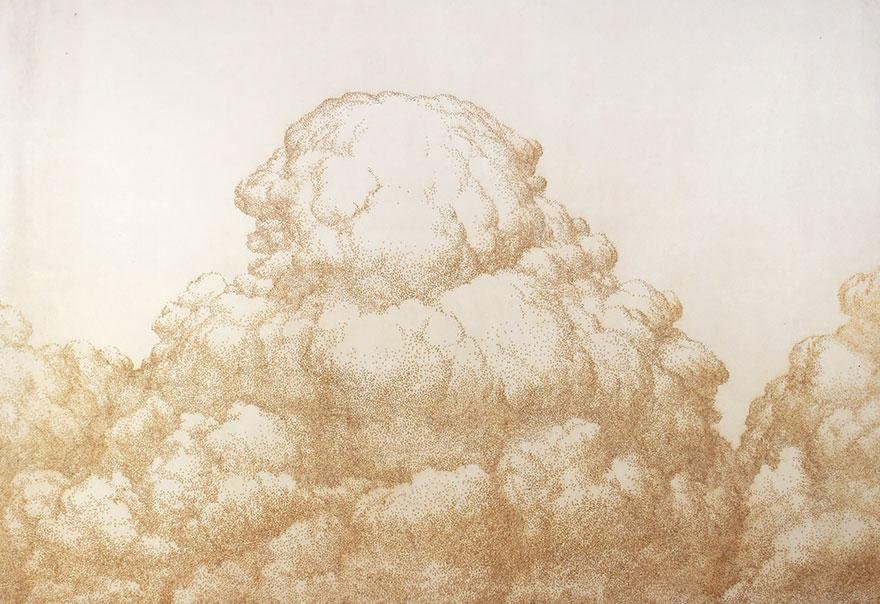 картины прожиганием отверстий в бумаге: облака