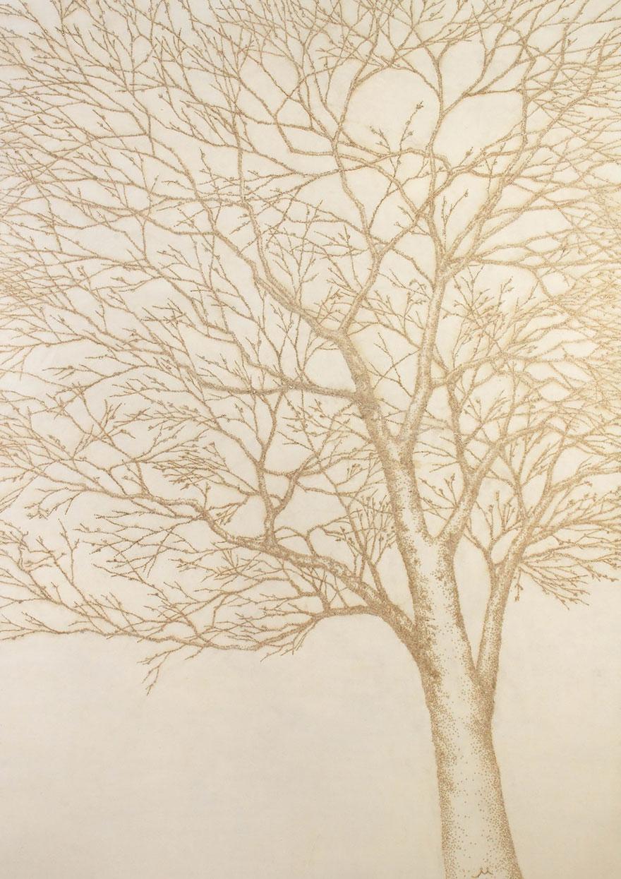 картины прожиганием отверстий в бумаге: почки на дереве весной