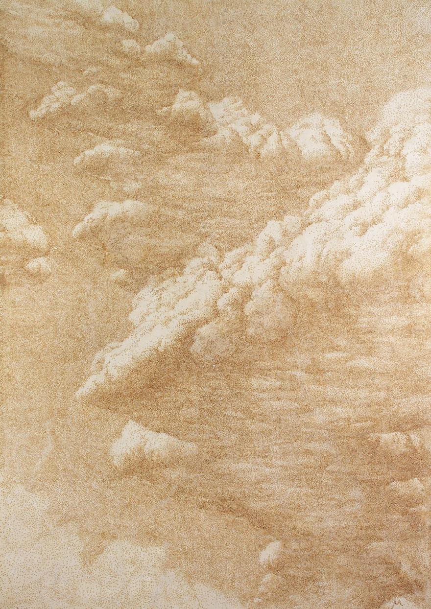 картины прожиганием отверстий в бумаге: тяжелые облака