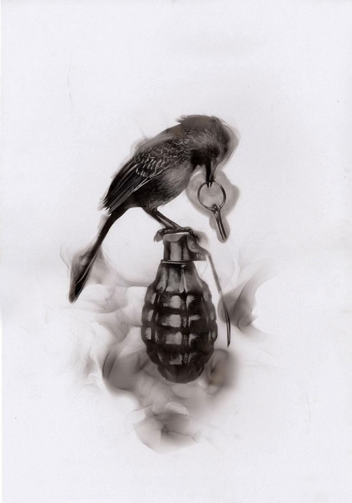 Как художники рисуют огнем - Стивен Спазук (Steven Spazuk): птица с чекой на гранате