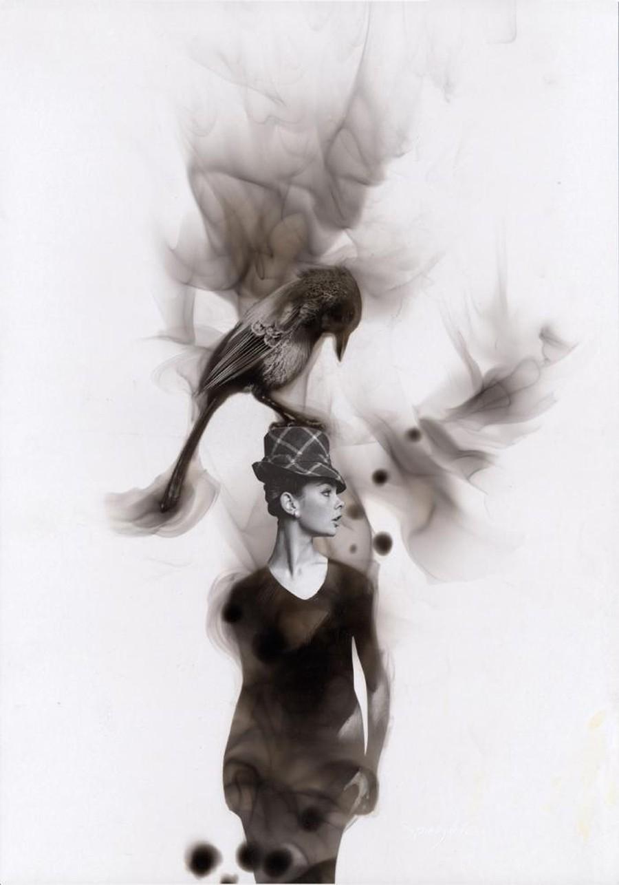Как художники рисуют огнем - Стивен Спазук (Steven Spazuk): галка на шляпке девушки