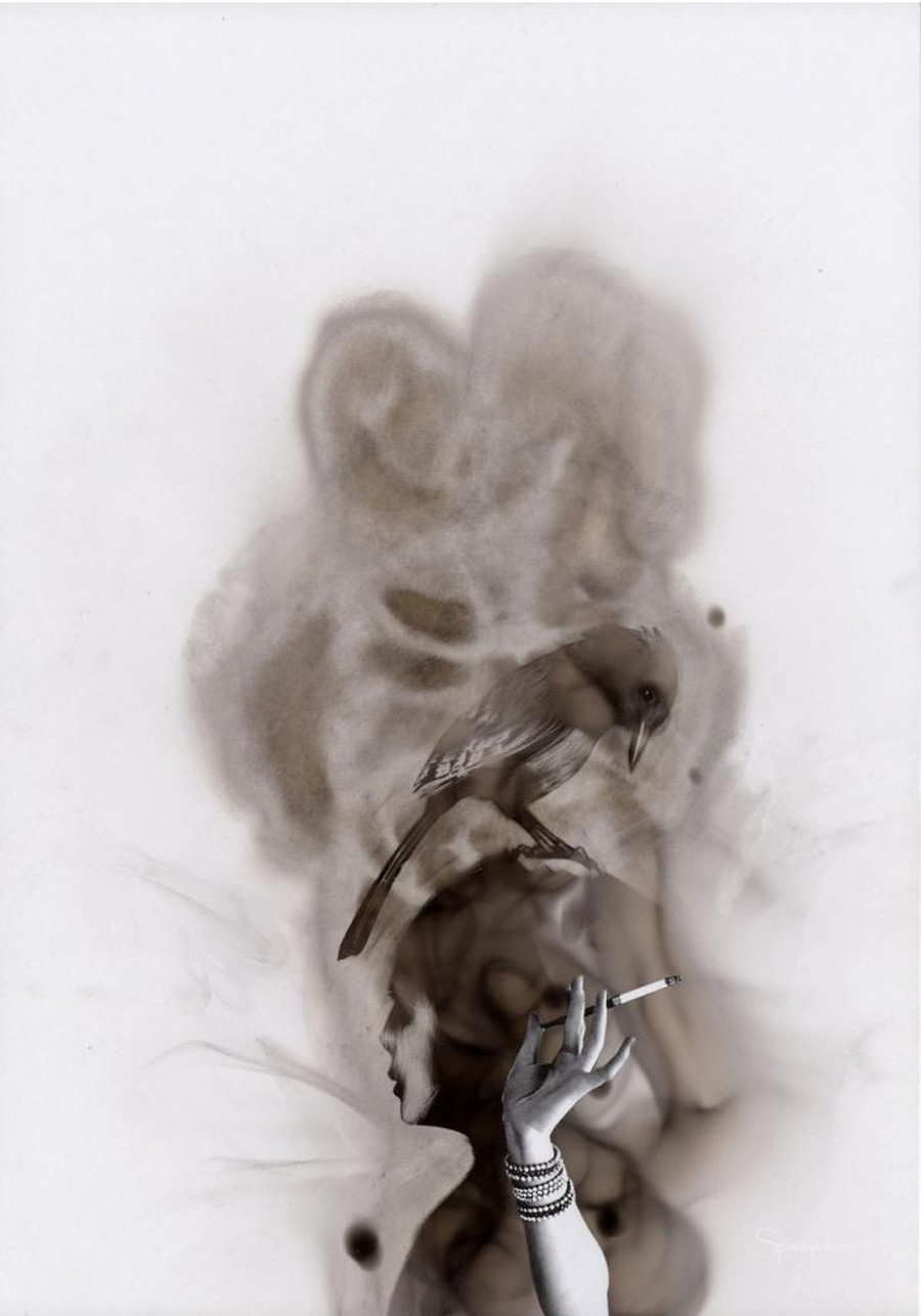 Как художники рисуют огнем - Стивен Спазук (Steven Spazuk): птица на голове курящей девушки