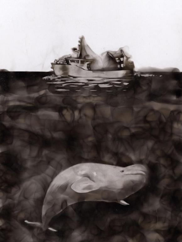 Как художники рисуют огнем - Стивен Спазук (Steven Spazuk): белуха и китобойное судно