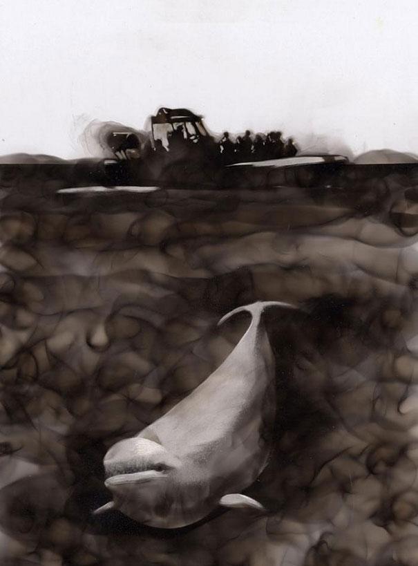 Как художники рисуют огнем - Стивен Спазук (Steven Spazuk): белый кит и китобойное судно