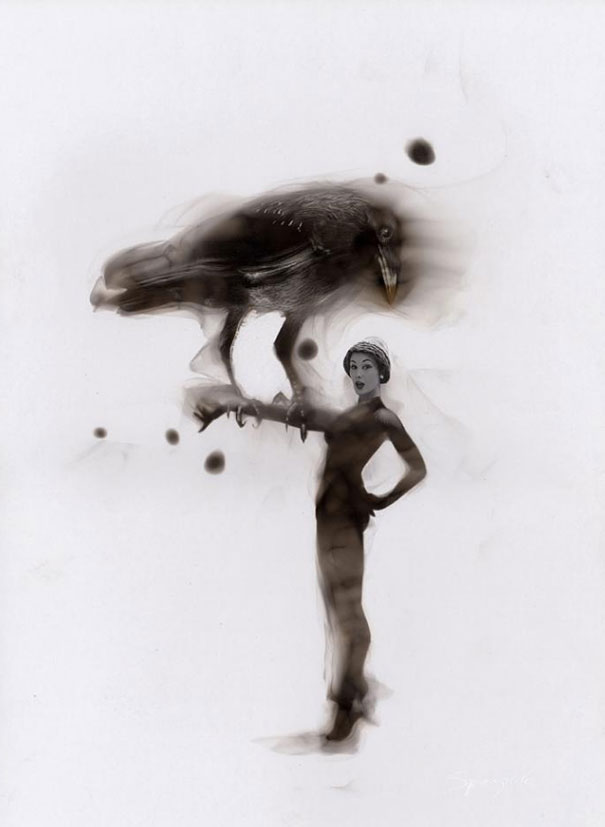 Как художники рисуют огнем - Стивен Спазук (Steven Spazuk): девушка с вороном на руке